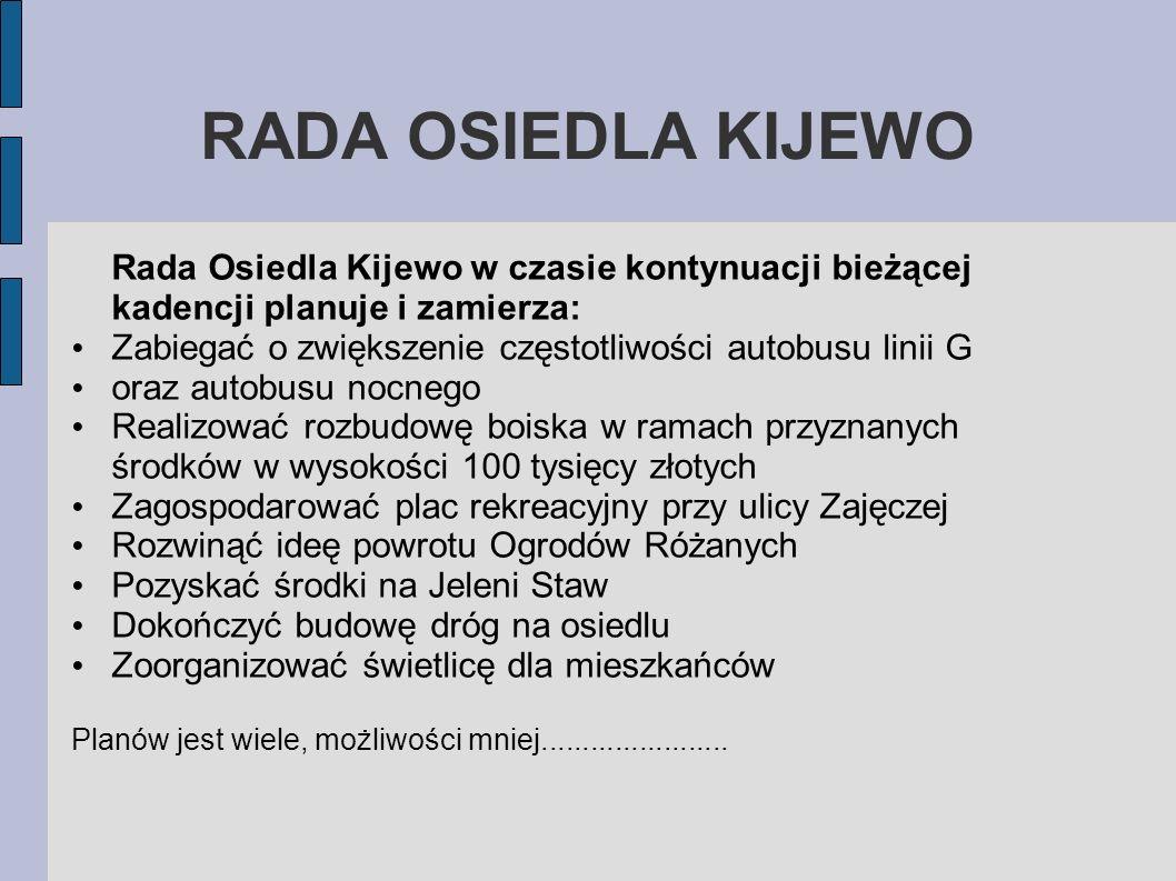 RADA OSIEDLA KIJEWO Rada Osiedla Kijewo w czasie kontynuacji bieżącej kadencji planuje i zamierza: Zabiegać o zwiększenie częstotliwości autobusu lini