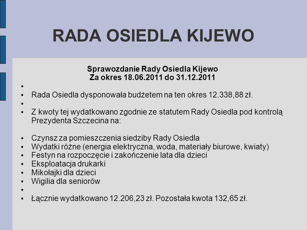 RADA OSIEDLA KIJEWO Sprawozdanie Rady Osiedla Kijewo Za okres 18.06.2011 do 31.12.2011 Rada Osiedla dysponowała budżetem na ten okres 12.338,88 zł. Z
