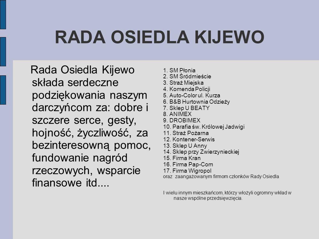 RADA OSIEDLA KIJEWO Rada Osiedla Kijewo składa serdeczne podziękowania naszym darczyńcom za: dobre i szczere serce, gesty, hojność, życzliwość, za bez