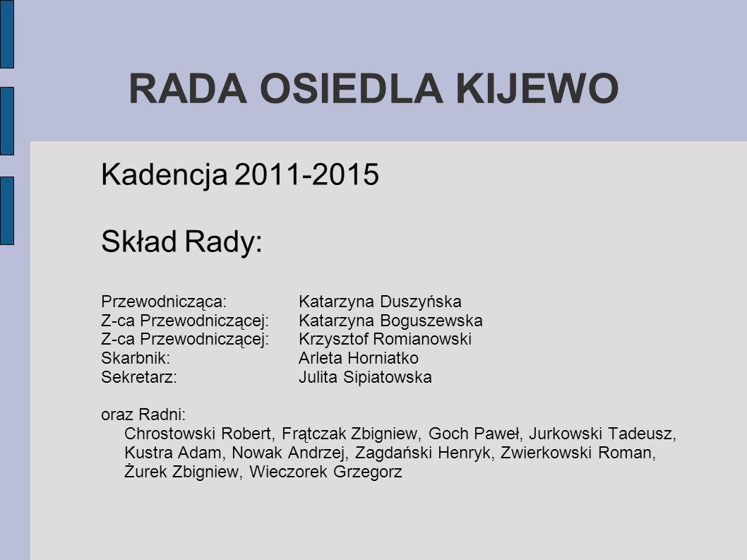 RADA OSIEDLA KIJEWO Kadencja 2011-2015 Skład Rady: Przewodnicząca: Katarzyna Duszyńska Z-ca Przewodniczącej: Katarzyna Boguszewska Z-ca Przewodniczące