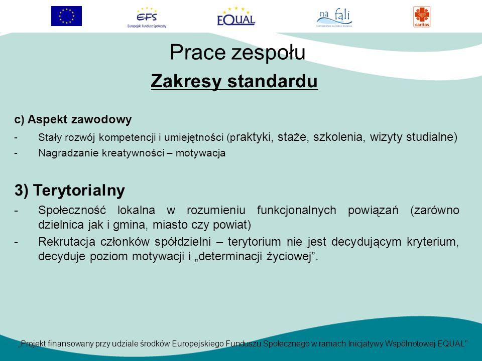 Projekt finansowany przy udziale środków Europejskiego Funduszu Społecznego w ramach Inicjatywy Wspólnotowej EQUAL c) Aspekt zawodowy -Stały rozwój kompetencji i umiejętności (p raktyki, staże, szkolenia, wizyty studialne) -Nagradzanie kreatywności – motywacja 3) Terytorialny -Społeczność lokalna w rozumieniu funkcjonalnych powiązań (zarówno dzielnica jak i gmina, miasto czy powiat) -Rekrutacja członków spółdzielni – terytorium nie jest decydującym kryterium, decyduje poziom motywacji i determinacji życiowej.