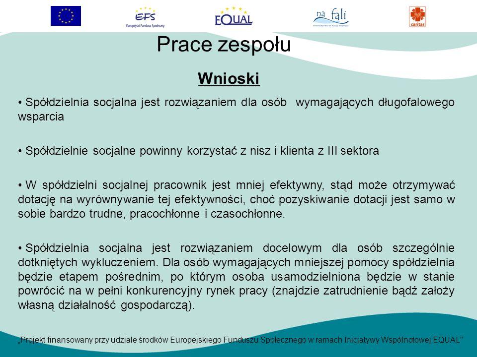 Projekt finansowany przy udziale środków Europejskiego Funduszu Społecznego w ramach Inicjatywy Wspólnotowej EQUAL Spółdzielnia socjalna jest rozwiązaniem dla osób wymagających długofalowego wsparcia Spółdzielnie socjalne powinny korzystać z nisz i klienta z III sektora W spółdzielni socjalnej pracownik jest mniej efektywny, stąd może otrzymywać dotację na wyrównywanie tej efektywności, choć pozyskiwanie dotacji jest samo w sobie bardzo trudne, pracochłonne i czasochłonne.