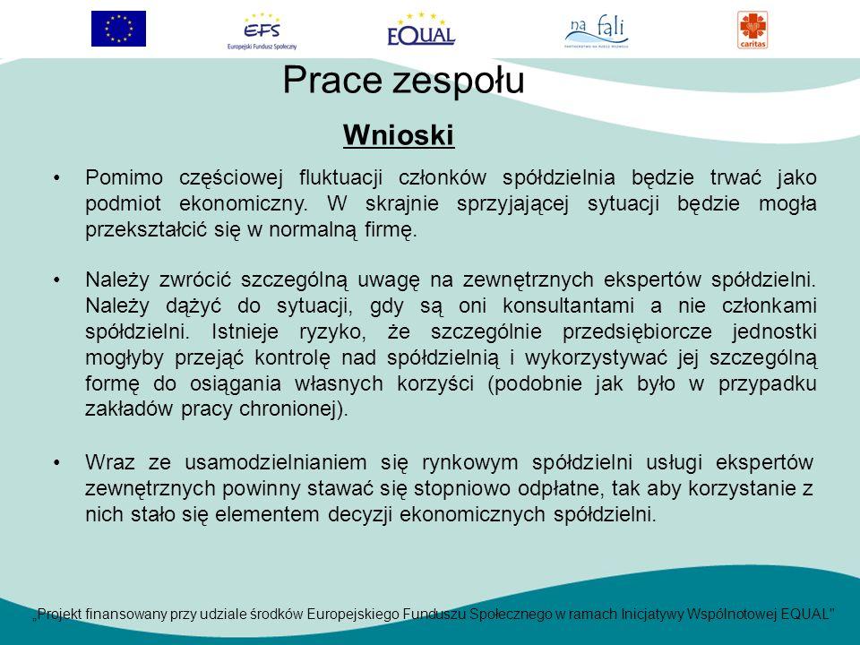 Projekt finansowany przy udziale środków Europejskiego Funduszu Społecznego w ramach Inicjatywy Wspólnotowej EQUAL Wnioski Prace zespołu Pomimo częściowej fluktuacji członków spółdzielnia będzie trwać jako podmiot ekonomiczny.