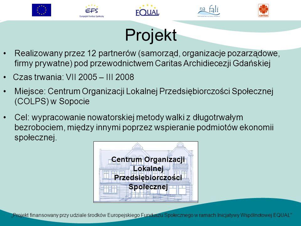 Projekt finansowany przy udziale środków Europejskiego Funduszu Społecznego w ramach Inicjatywy Wspólnotowej EQUAL Projekt Czas trwania: VII 2005 – III 2008 Realizowany przez 12 partnerów (samorząd, organizacje pozarządowe, firmy prywatne) pod przewodnictwem Caritas Archidiecezji Gdańskiej Miejsce: Centrum Organizacji Lokalnej Przedsiębiorczości Społecznej (COLPS) w Sopocie Cel: wypracowanie nowatorskiej metody walki z długotrwałym bezrobociem, między innymi poprzez wspieranie podmiotów ekonomii społecznej.