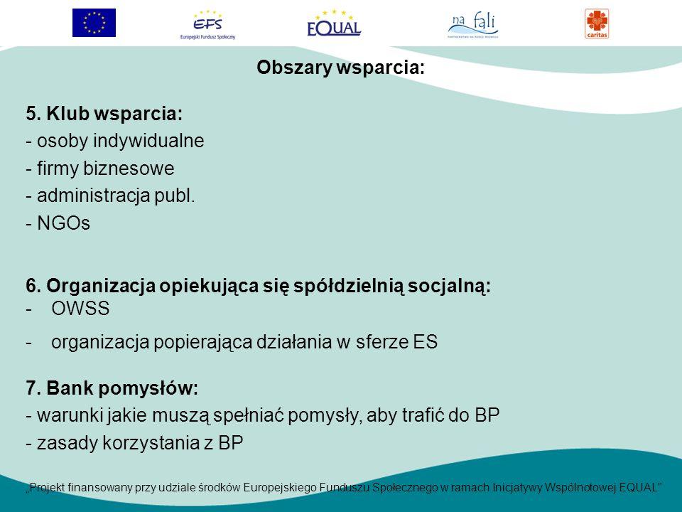 Projekt finansowany przy udziale środków Europejskiego Funduszu Społecznego w ramach Inicjatywy Wspólnotowej EQUAL 5.