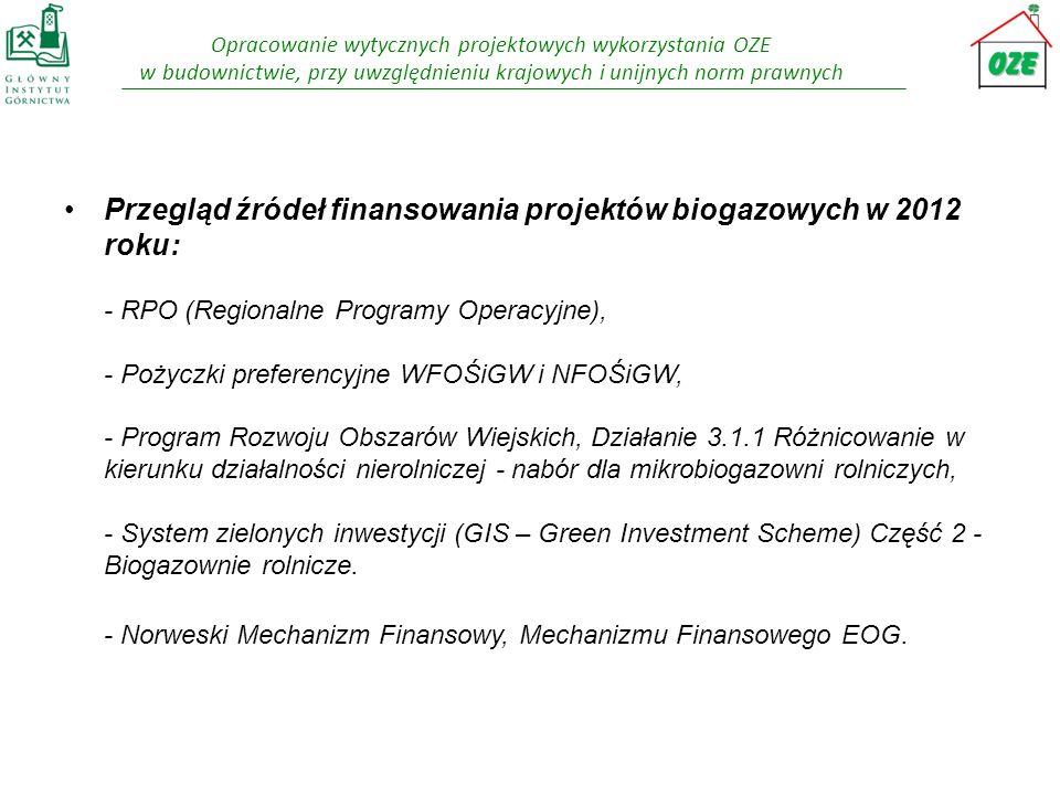 Opracowanie wytycznych projektowych wykorzystania OZE w budownictwie, przy uwzględnieniu krajowych i unijnych norm prawnych Przegląd źródeł finansowan