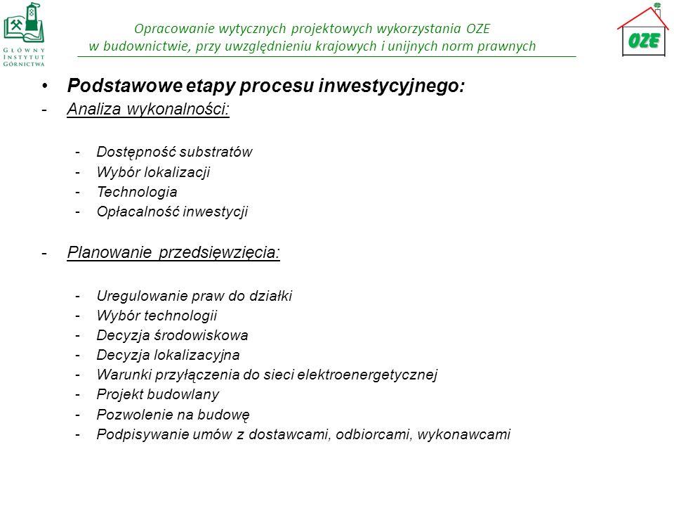 Opracowanie wytycznych projektowych wykorzystania OZE w budownictwie, przy uwzględnieniu krajowych i unijnych norm prawnych -Finansowanie: -Źródło finansowania -Sprzedaż energii -Świadectwa pochodzenia -Budowa biogazowni: -Dostawa -Budowa i montaż -Rozruch -Eksploatacja biogazowni - Sterowanie procesem - Stałość dostaw substratu i odbioru wytworzonej energii