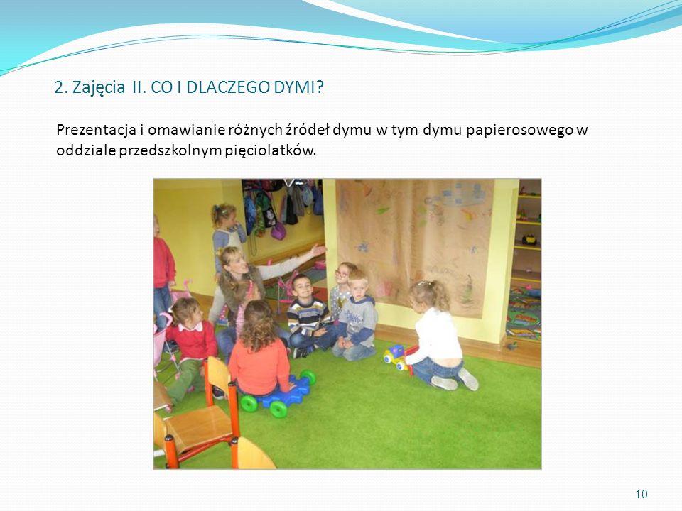 Prezentacja i omawianie różnych źródeł dymu w tym dymu papierosowego w oddziale przedszkolnym pięciolatków. 10 2. Zajęcia II. CO I DLACZEGO DYMI?