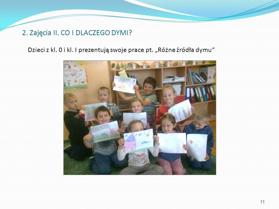 11 Dzieci z kl. 0 i kl. I prezentują swoje prace pt. Różne źródła dymu 2. Zajęcia II. CO I DLACZEGO DYMI? 11