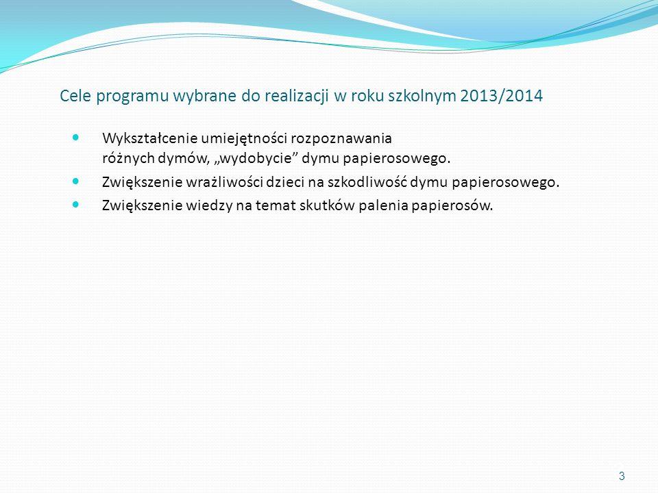 Cele programu wybrane do realizacji w roku szkolnym 2013/2014 Wykształcenie umiejętności rozpoznawania różnych dymów, wydobycie dymu papierosowego. Zw
