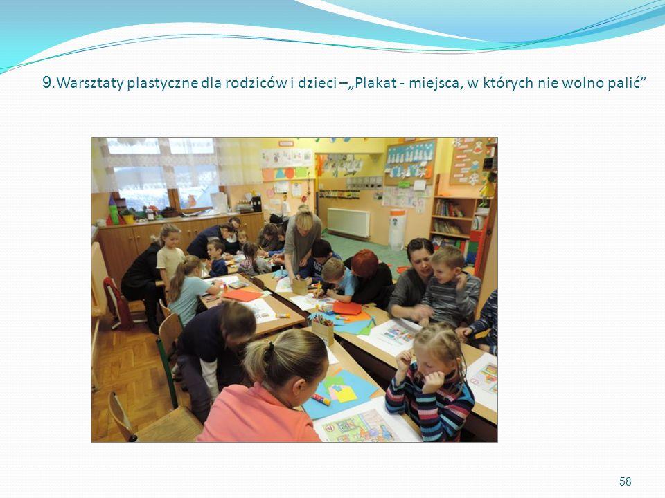 9. Warsztaty plastyczne dla rodziców i dzieci –Plakat - miejsca, w których nie wolno palić 58
