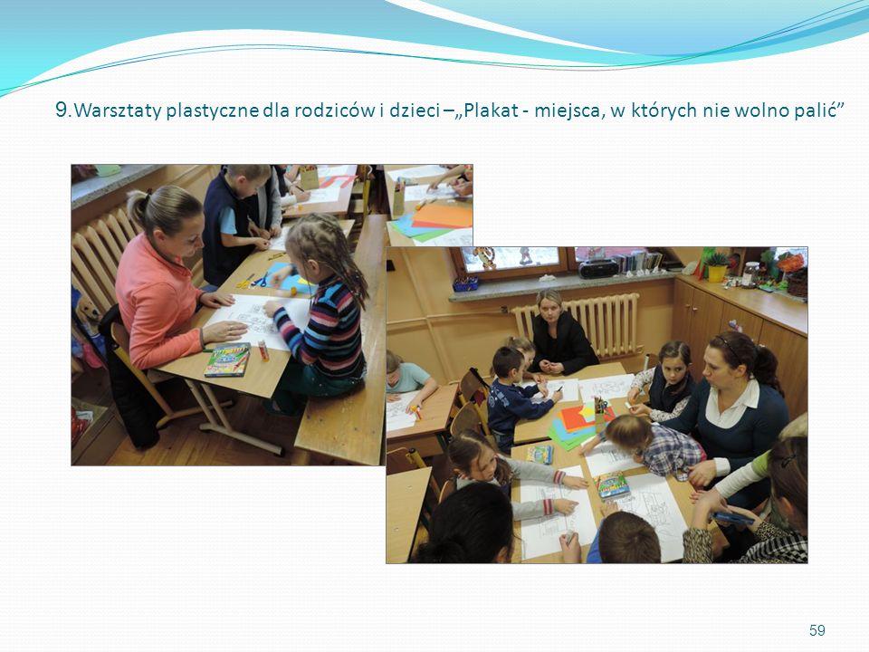 59 9. Warsztaty plastyczne dla rodziców i dzieci –Plakat - miejsca, w których nie wolno palić