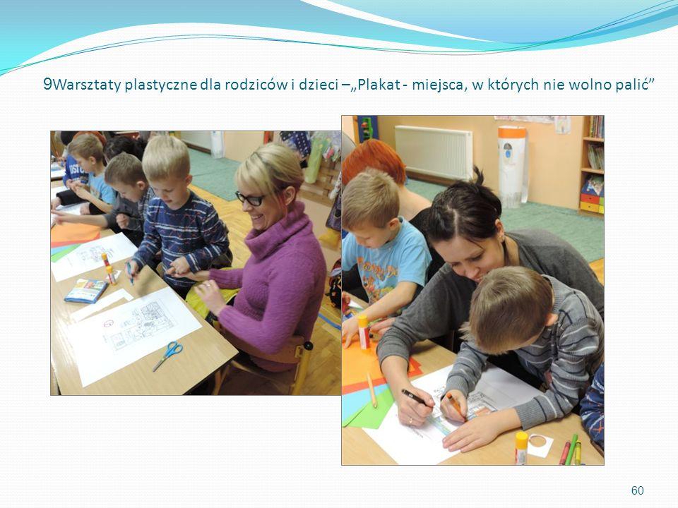 60 9 Warsztaty plastyczne dla rodziców i dzieci –Plakat - miejsca, w których nie wolno palić