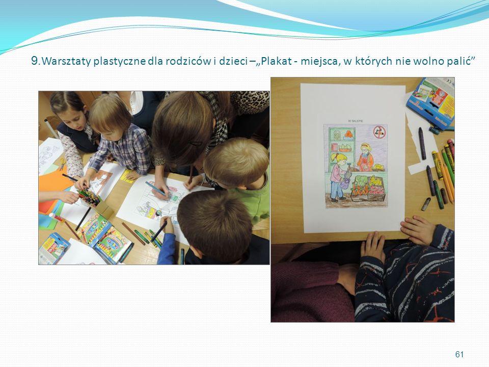 61 9. Warsztaty plastyczne dla rodziców i dzieci –Plakat - miejsca, w których nie wolno palić