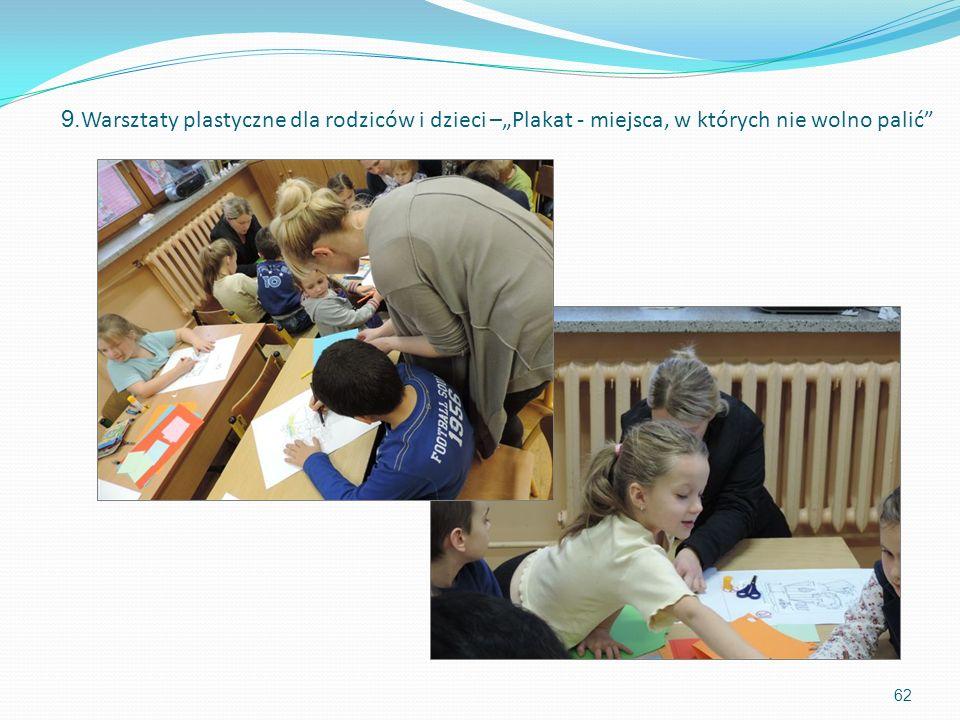 62 9. Warsztaty plastyczne dla rodziców i dzieci –Plakat - miejsca, w których nie wolno palić