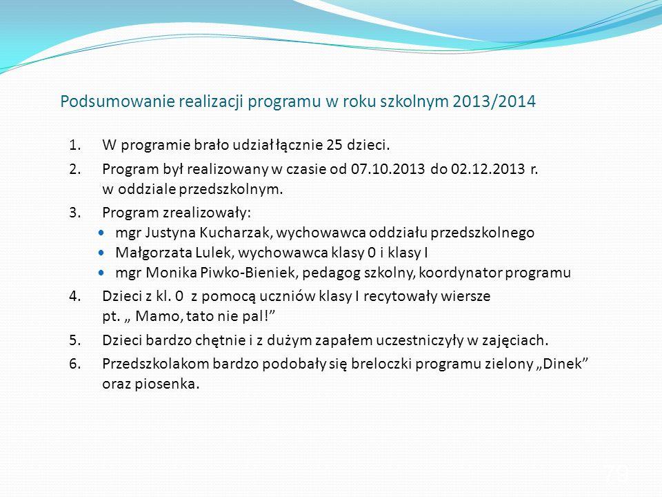 Podsumowanie realizacji programu w roku szkolnym 2013/2014 1. W programie brało udział łącznie 25 dzieci. 2. Program był realizowany w czasie od 07.10