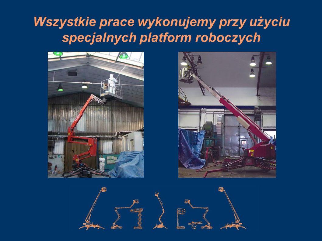 Wszystkie prace wykonujemy przy użyciu specjalnych platform roboczych