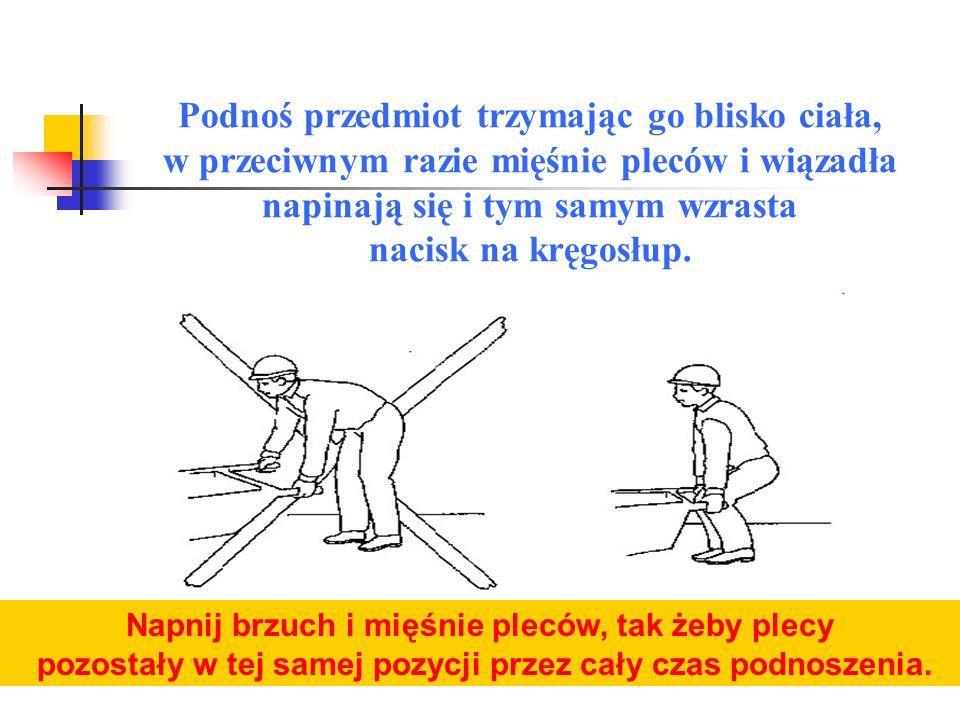Podnosimy ciężar stopniowo rozprostowując ugięte kolana, ale bez zginania pleców.
