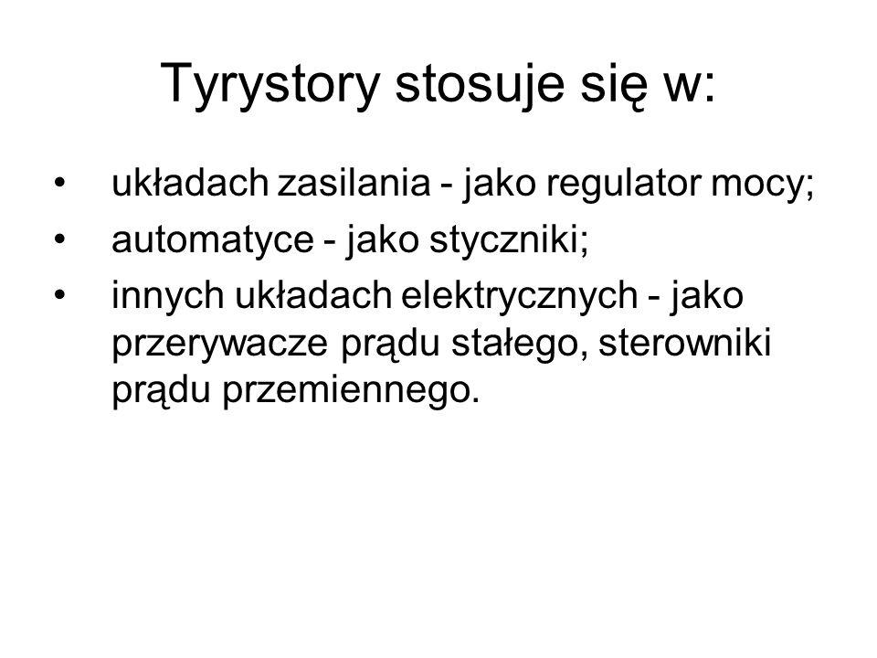 Tyrystory stosuje się w: układach zasilania - jako regulator mocy; automatyce - jako styczniki; innych układach elektrycznych - jako przerywacze prądu stałego, sterowniki prądu przemiennego.