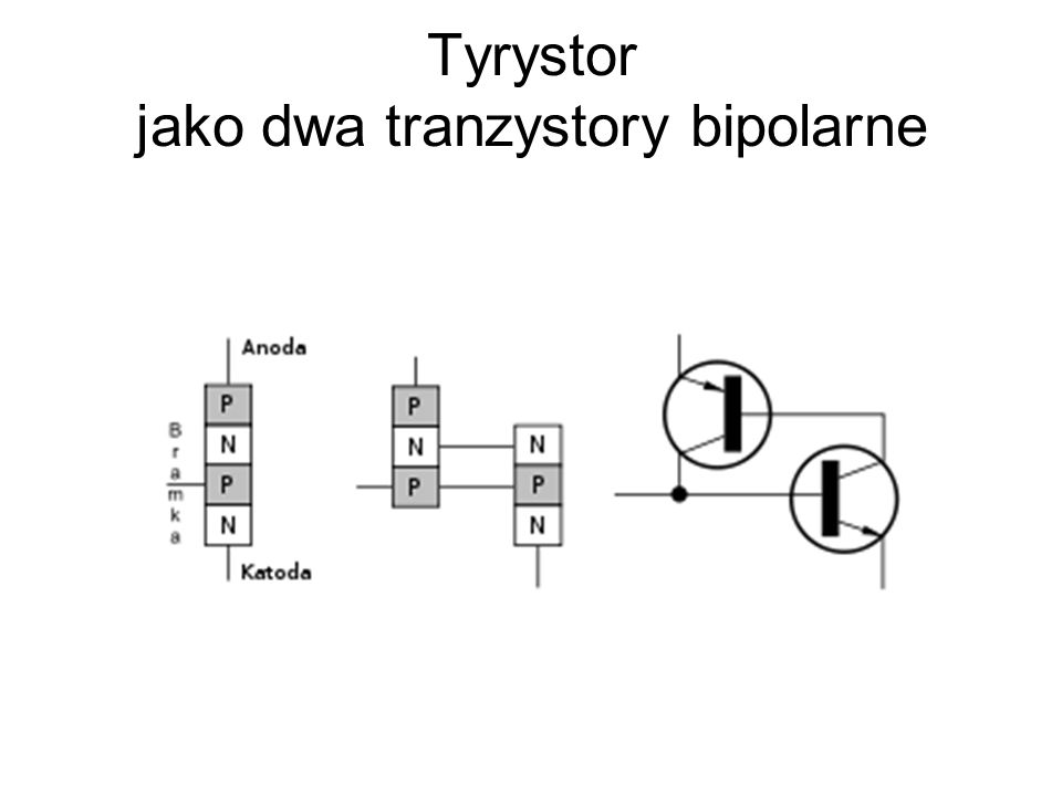 Tyrystor jako dwa tranzystory bipolarne