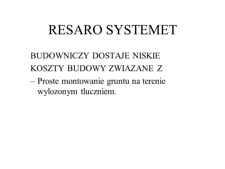 RESARO SYSTEMET BUDOWNICZY DOSTAJE NISKIE KOSZTY BUDOWY ZWIAZANE Z –Proste montowanie gruntu na terenie wylozonym tluczniem.