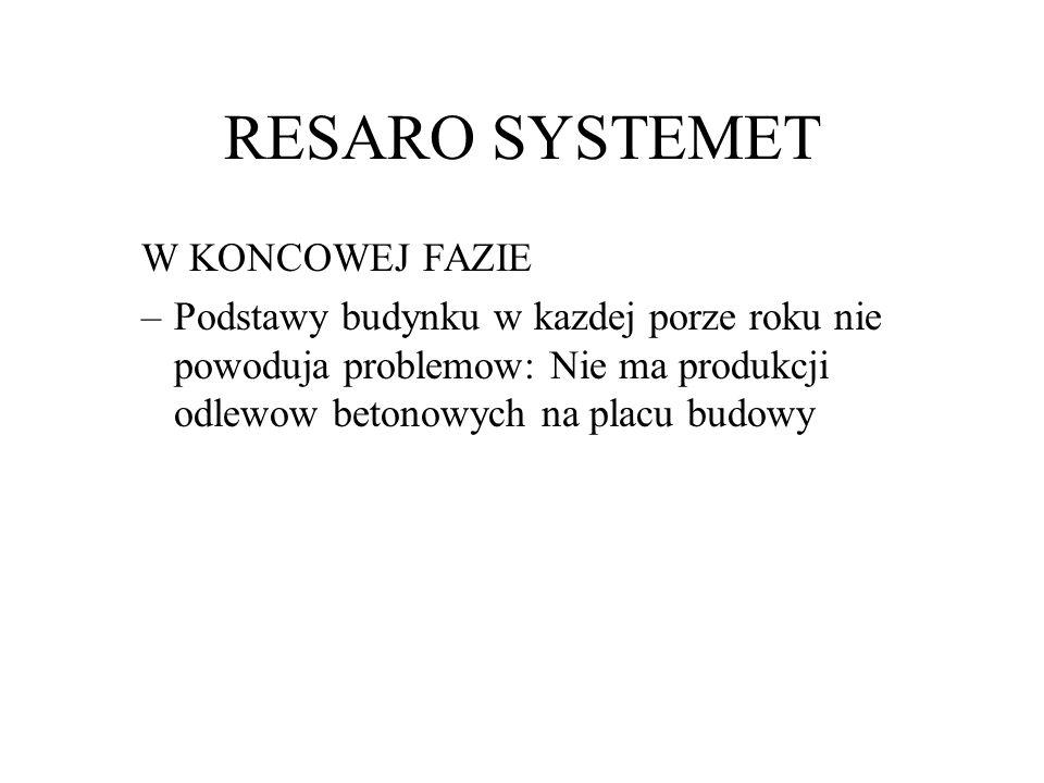 RESARO SYSTEMET W KONCOWEJ FAZIE –Podstawy budynku w kazdej porze roku nie powoduja problemow: Nie ma produkcji odlewow betonowych na placu budowy