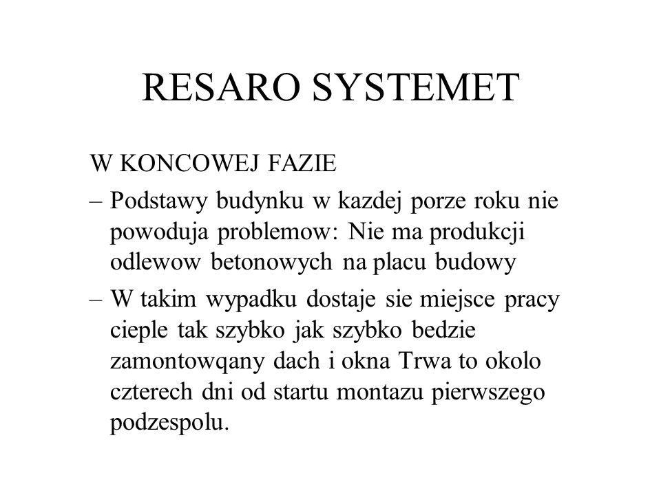 RESARO SYSTEMET W KONCOWEJ FAZIE –Podstawy budynku w kazdej porze roku nie powoduja problemow: Nie ma produkcji odlewow betonowych na placu budowy –W