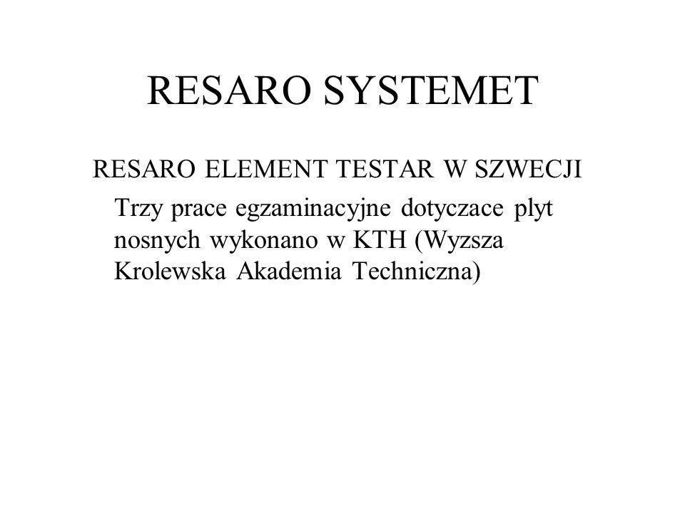RESARO SYSTEMET RESARO ELEMENT TESTAR W SZWECJI Trzy prace egzaminacyjne dotyczace plyt nosnych wykonano w KTH (Wyzsza Krolewska Akademia Techniczna)