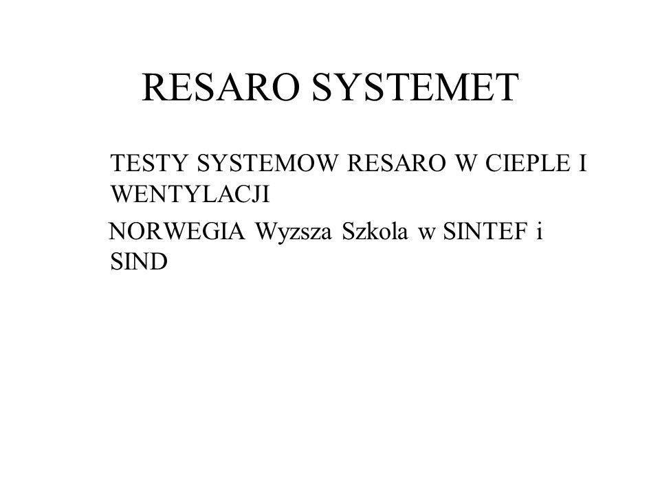RESARO SYSTEMET TESTY SYSTEMOW RESARO W CIEPLE I WENTYLACJI NORWEGIAWyzsza Szkola w SINTEF i SIND