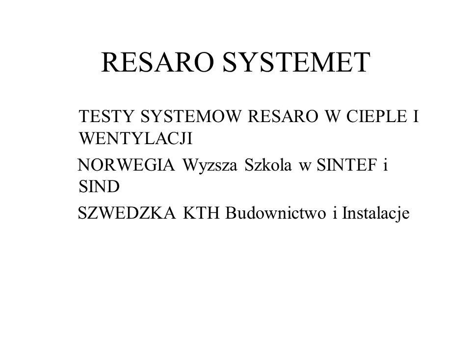 RESARO SYSTEMET TESTY SYSTEMOW RESARO W CIEPLE I WENTYLACJI NORWEGIA Wyzsza Szkola w SINTEF i SIND SZWEDZKA KTH Budownictwo i Instalacje