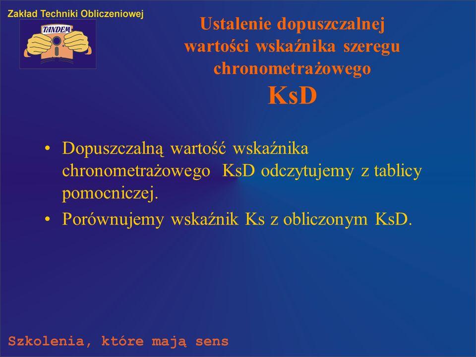 Ustalenie dopuszczalnej wartości wskaźnika szeregu chronometrażowego KsD Dopuszczalną wartość wskaźnika chronometrażowego KsD odczytujemy z tablicy po