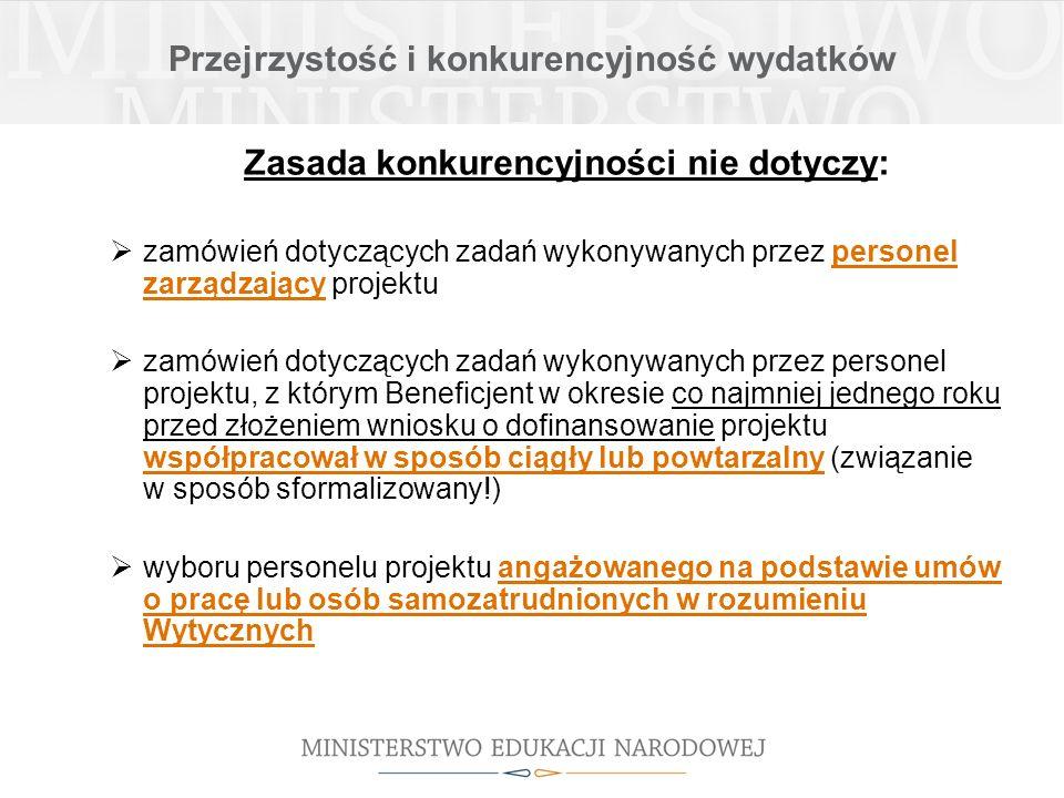 Przejrzystość i konkurencyjność wydatków Proces realizacji zamówienia z zastosowaniem zasady konkurencyjności: zasady sumowania zamówień: sumowanie w ramach identycznych kodów według Wspólnego Słownika Zamówień, ale konieczność zbadania 3 kryteriów tożsamości -tożsamość przedmiotowa zamówienia (usługi/towary/roboty budowlane tego samego rodzaju i o tym samym przeznaczeniu) -tożsamość czasowa zamówienia (możliwe udzielenie zamówienia w tym samym czasie) -tożsamość podmiotowa zamówienia (możliwość wykonania zamówienia przez jednego wykonawcę) CZAS + PRZEZNACZENIE + JEDEN WYKONAWCA sumowania wartości zamówień tego samego rodzaju należy dokonać dla całego okresu realizacji projektu; w przypadku realizacji kilku projektów przez beneficjenta w tym samym czasie zamówienia powinny być sumowane tylko w ramach danego projektu