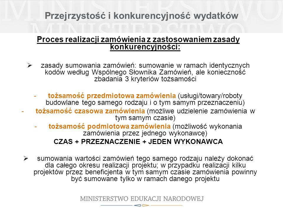 Przejrzystość i konkurencyjność wydatków Proces realizacji zamówienia z zastosowaniem zasady konkurencyjności: obowiązek wysłania zapytania ofertowego do co najmniej trzech potencjalnych wykonawców (konieczność potwierdzenia otrzymania oferty, termin na złożenie ofert min.