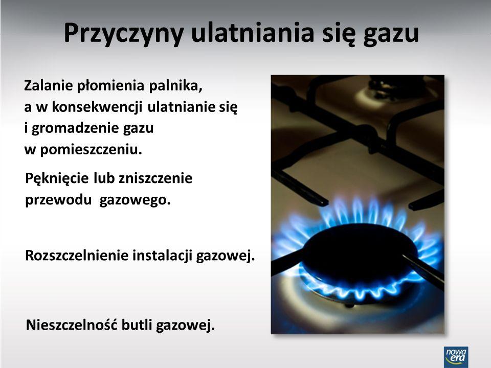 Przyczyny ulatniania się gazu Zalanie płomienia palnika, a w konsekwencji ulatnianie się i gromadzenie gazu w pomieszczeniu. Pęknięcie lub zniszczenie