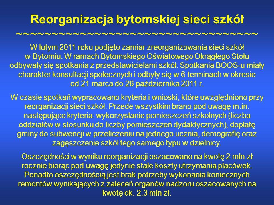 Reorganizacja bytomskiej sieci szkół ~~~~~~~~~~~~~~~~~~~~~~~~~~~~~~~~~~ W lutym 2011 roku podjęto zamiar zreorganizowania sieci szkół w Bytomiu.