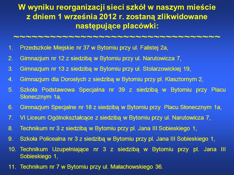 W wyniku reorganizacji sieci szkół w naszym mieście z dniem 1 września 2012 r.