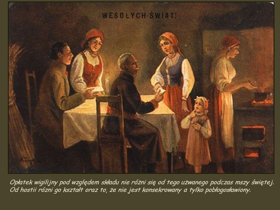 Opłatek wigilijny pod względem składu nie różni się od tego użwanego podczas mszy świętej.