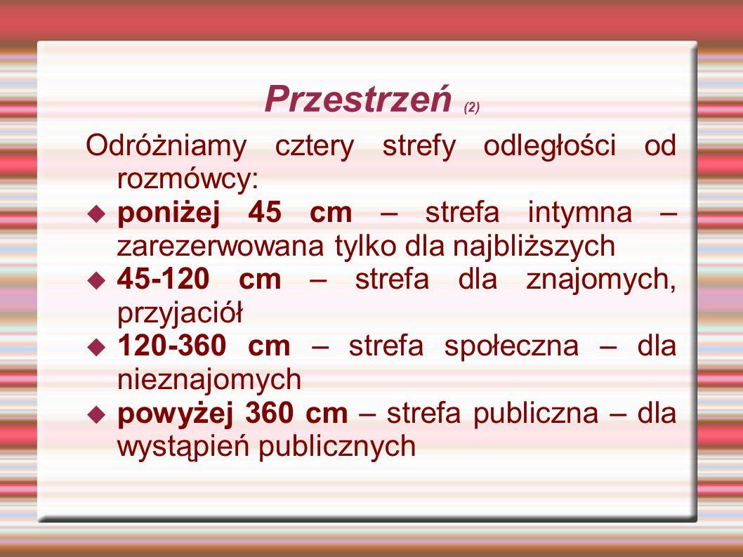 Przestrzeń (2) Odróżniamy cztery strefy odległości od rozmówcy: poniżej 45 cm – strefa intymna – zarezerwowana tylko dla najbliższych 45-120 cm – stre