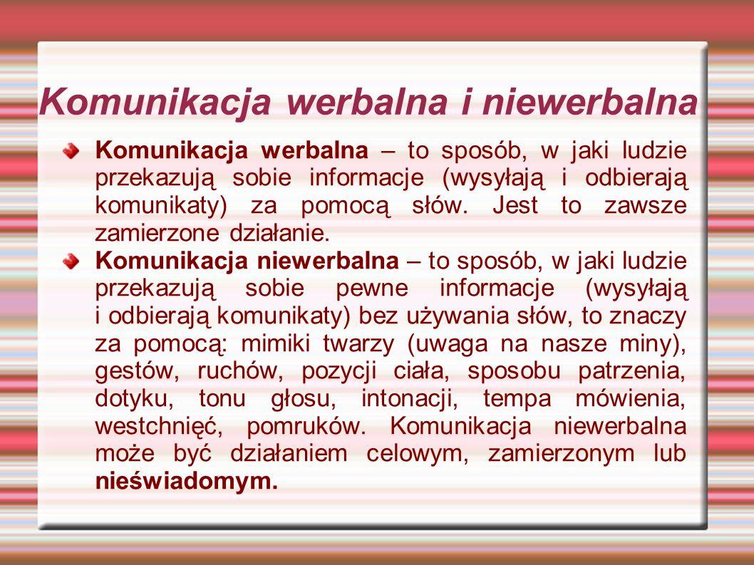 Komunikacja werbalna i niewerbalna Komunikacja werbalna – to sposób, w jaki ludzie przekazują sobie informacje (wysyłają i odbierają komunikaty) za po