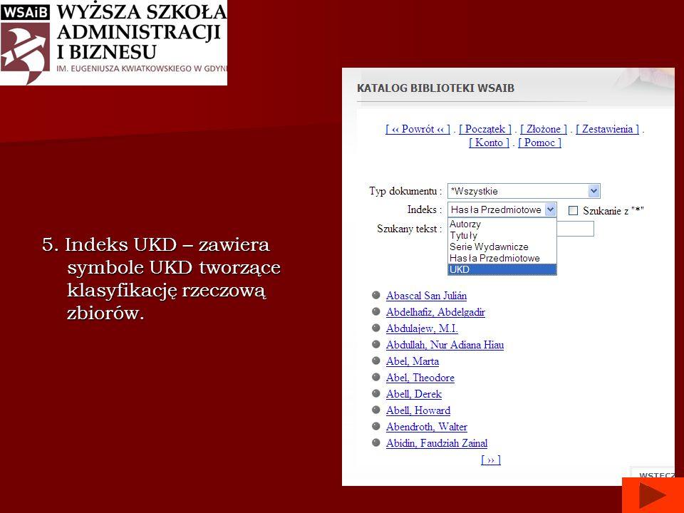 5. Indeks UKD – zawiera symbole UKD tworzące klasyfikację rzeczową zbiorów.