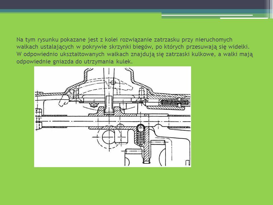 Na tym rysunku pokazane jest z kolei rozwiązanie zatrzasku przy nieruchomych wałkach ustalających w pokrywie skrzynki biegów, po których przesuwają si