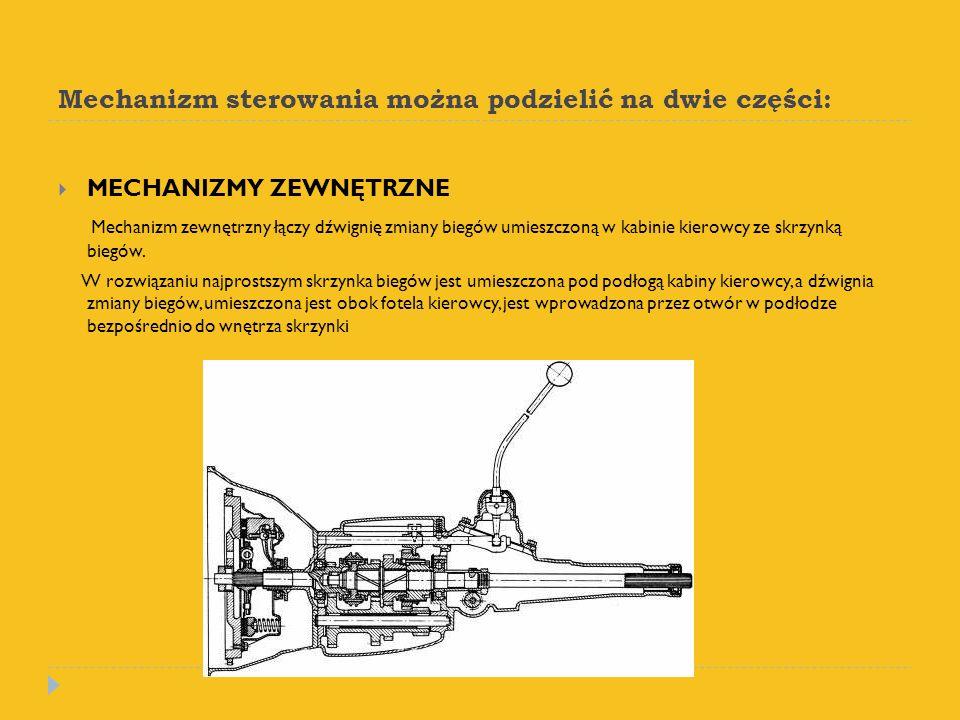 Mechanizm sterowania można podzielić na dwie części: MECHANIZMY ZEWNĘTRZNE Mechanizm zewnętrzny łączy dźwignię zmiany biegów umieszczoną w kabinie kie
