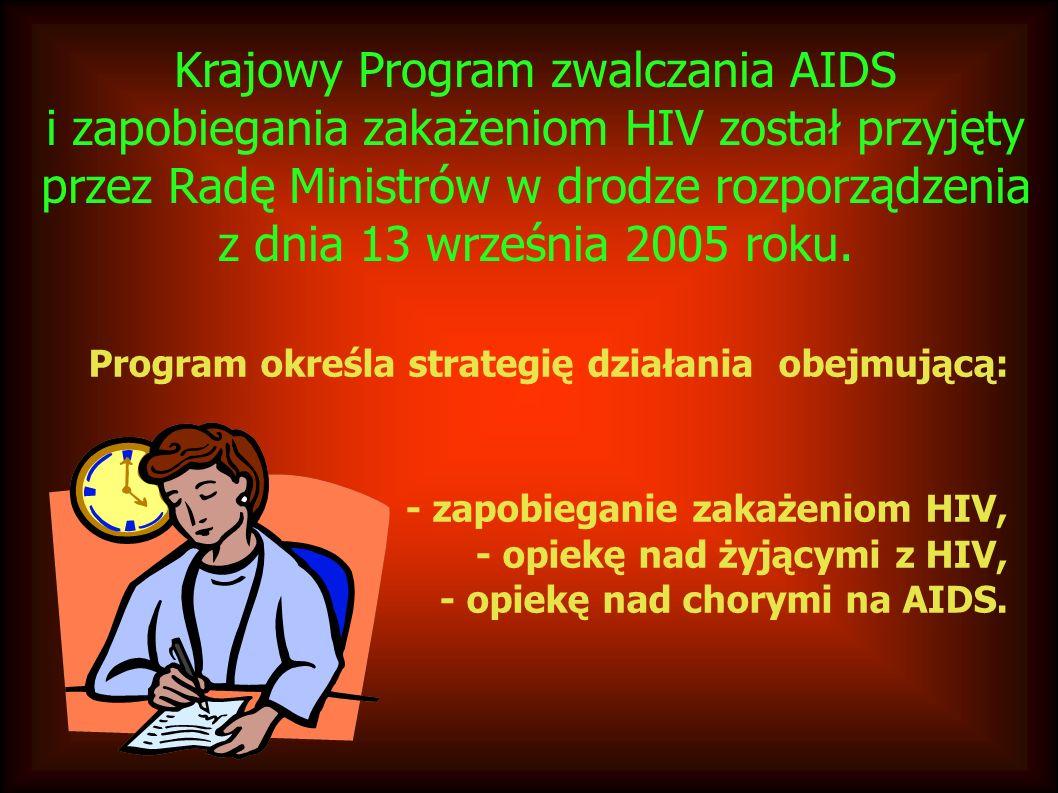 Krajowy Program zwalczania AIDS i zapobiegania zakażeniom HIV został przyjęty przez Radę Ministrów w drodze rozporządzenia z dnia 13 września 2005 roku.