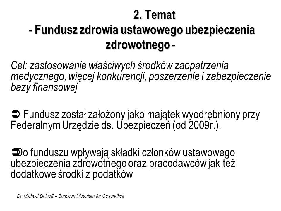 Dr. Michael Dalhoff – Bundesministerium für Gesundheit 2. Temat - Fundusz zdrowia ustawowego ubezpieczenia zdrowotnego 2. Temat - Fundusz zdrowia usta