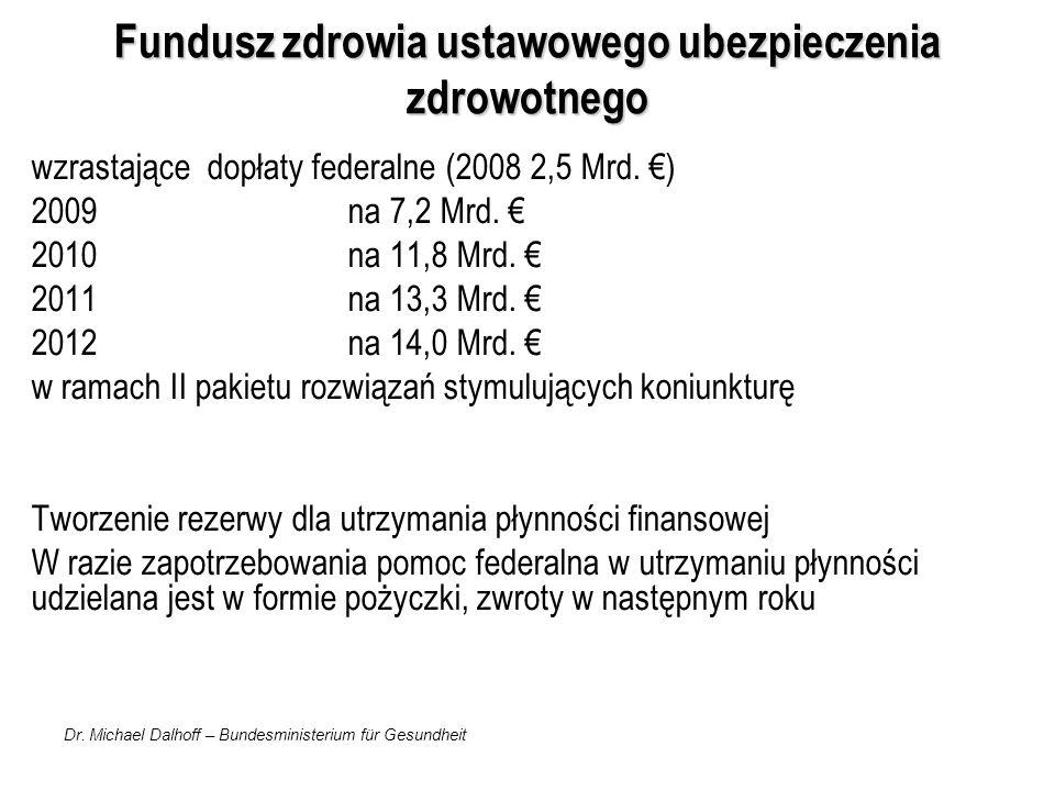 Dr. Michael Dalhoff – Bundesministerium für Gesundheit Fundusz zdrowia ustawowego ubezpieczenia zdrowotnego wzrastające dopłaty federalne (2008 2,5 Mr