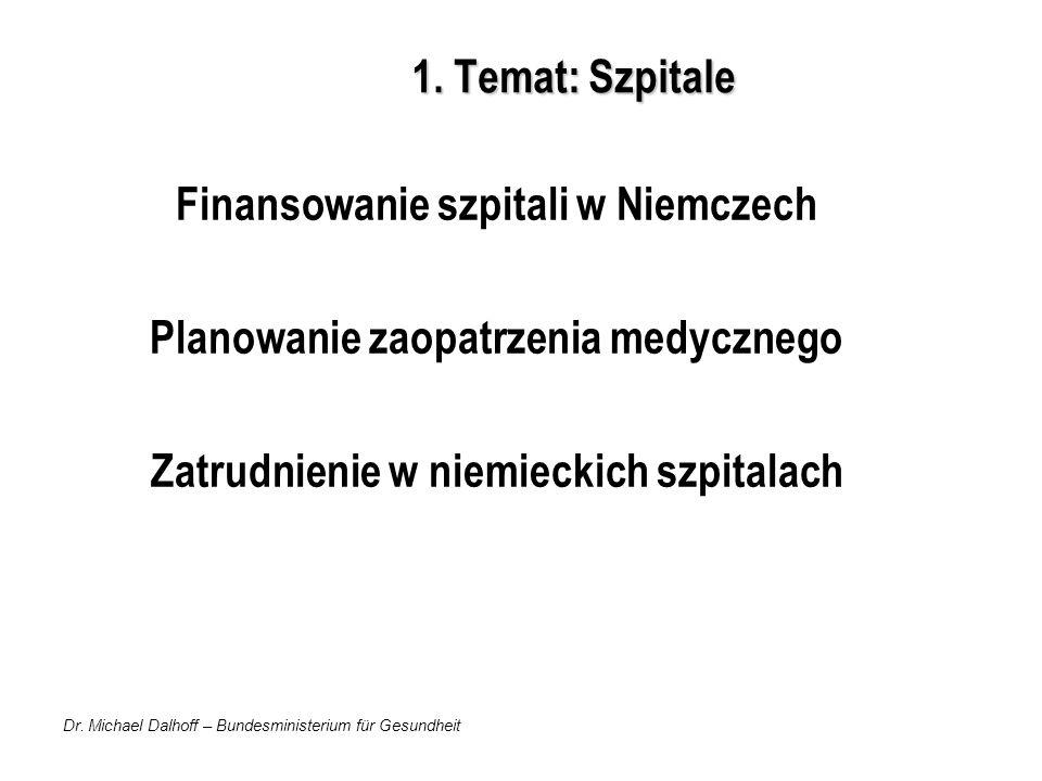 Dr. Michael Dalhoff – Bundesministerium für Gesundheit 1. Temat: Szpitale Finansowanie szpitali w Niemczech Planowanie zaopatrzenia medycznego Zatrudn