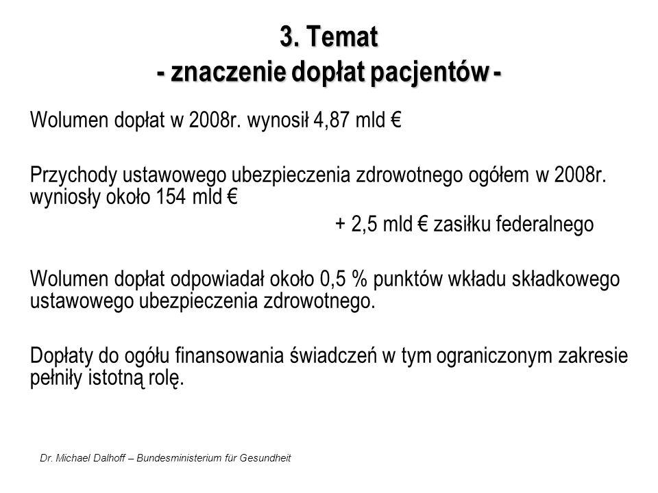 Dr. Michael Dalhoff – Bundesministerium für Gesundheit 3. Temat - znaczenie dopłat pacjentów - Wolumen dopłat w 2008r. wynosił 4,87 mld Przychody usta