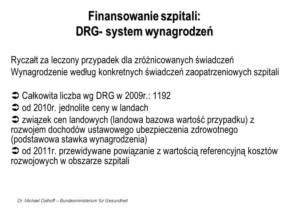 Dr. Michael Dalhoff – Bundesministerium für Gesundheit Finansowanie szpitali: DRG- system wynagrodzeń Ryczałt za leczony przypadek dla zróżnicowanych
