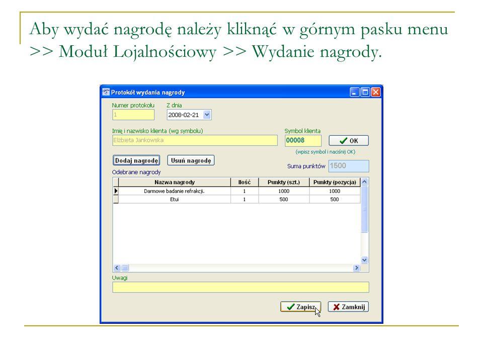 W okienku - Symbol klienta, wpisujemy numer posiadany przez klienta (wybieranie jest możliwe tylko przez wpisanie numeru, nazwisko wskoczy automatycznie w odpowiednie pole).