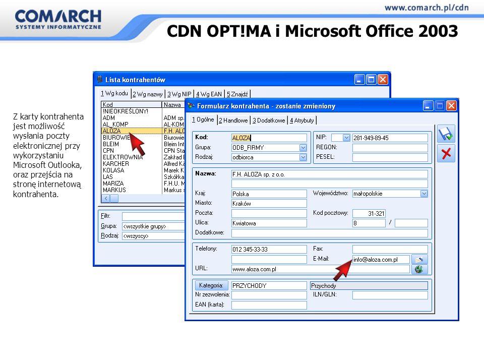 Z karty kontrahenta jest możliwość wysłania poczty elektronicznej przy wykorzystaniu Microsoft Outlooka, oraz przejścia na stronę internetową kontrahenta.